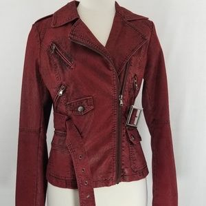 Red Leather Faux Jacket